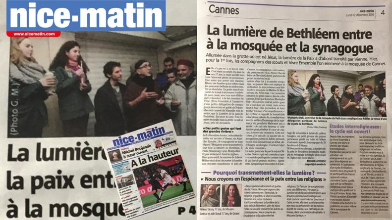 LA LUMIERE DE BETHLEEM BRILLE A CANNES DANS 3 LIEUX DE CULTE : Mosquée - Synagogue - Chapelle... jusqu'à Noël !!!