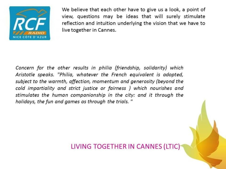 LIVING TOGETHER IN CANNES...FOR OUR FRIENDS WHO SPEAK ONLY ENGLISH !
