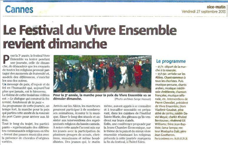 """Nice Matin annonce le 3ème Festival """"Vivre ensemble à Cannes"""" Dimanche 29 septembre"""