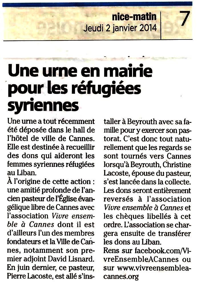 2014 débute avec la solidarité, la fraternité, l'engagement et la foi : Une urne déposée en Mairie de Cannes pour recueillir les dons vers les femmes syriennes réfugiées au Liban...