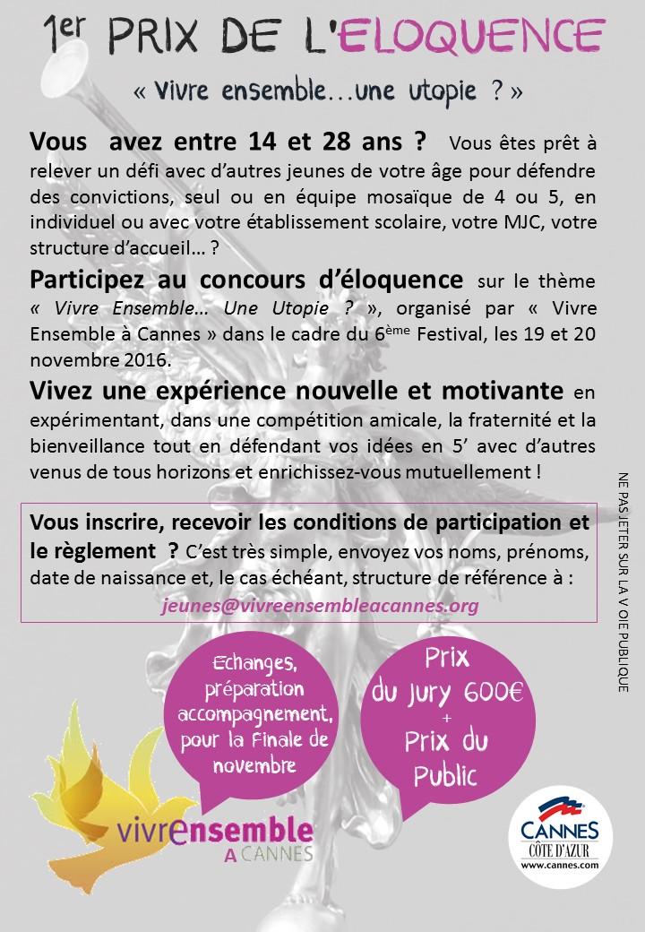 Vous avez de 14 à 28 ans ? Vous vous êtes inscrits au 1er prix de l'Eloquence au sein du 6ème Festival Vivre Ensemble A Cannes ?