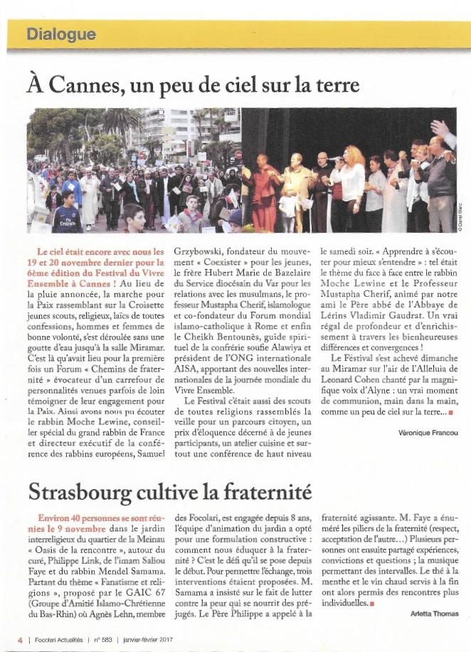 Le 6ème festival Vivre Ensemble A Cannes 2016 en photos et dans Focolari Actualités