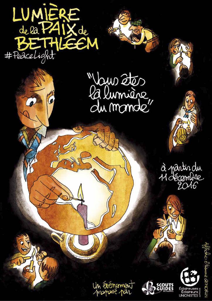 LES SCOUTS ET GUIDES DE FRANCE - VIVRE ENSEMBLE A CANNES ET LES JEUNES TRANSMETTENT LA LUMIERE DE BETHLEEM DANS DIFFERENTS LIEUX DE CULTES