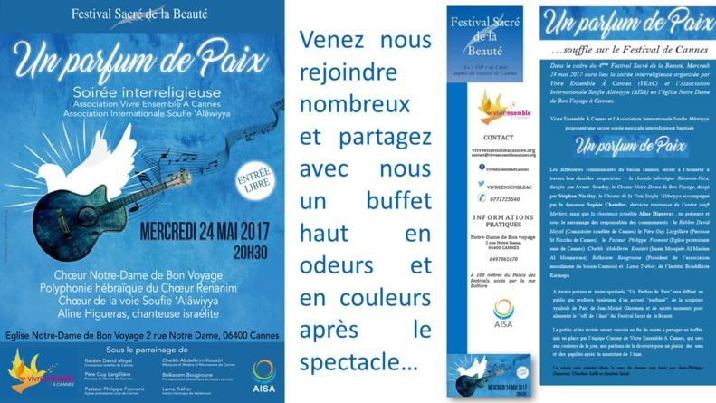 FESTIVAL SACRE DE LA BEAUTE - Mercredi 24 mai 2017 - PARFUMS DE PAIX Soirée interreligieuse Vivre Ensemble A Cannes et Association Internationale Soufie 'Alawiyya