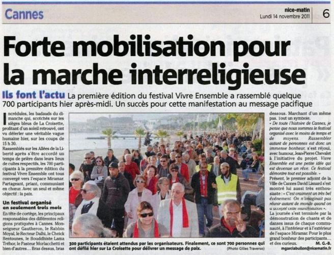 NICE MATIN : 1ER Festival Vivre ensemble à Cannes