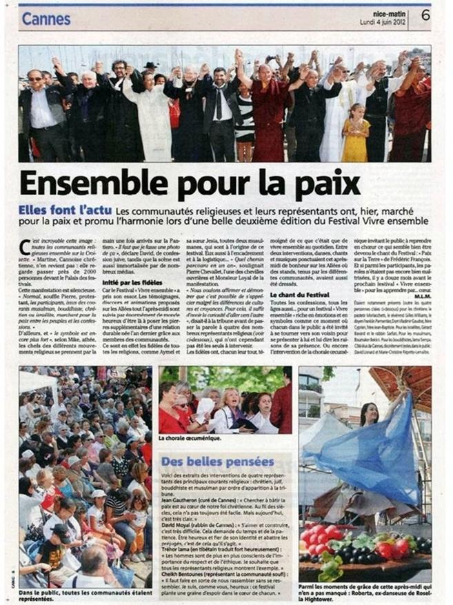 NICE MATIN : 2ème Festival Vivre ensemble à Cannes