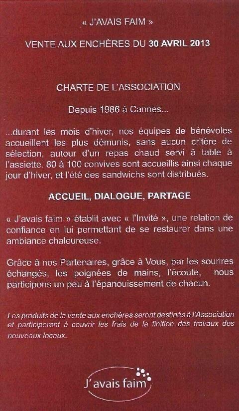 """MARDI 30 AVRIL...VENTE AUX ENCHÈRES AU PROFIT DE L'ASSOCIATION """"J'AVAIS FAIM""""...!!!"""