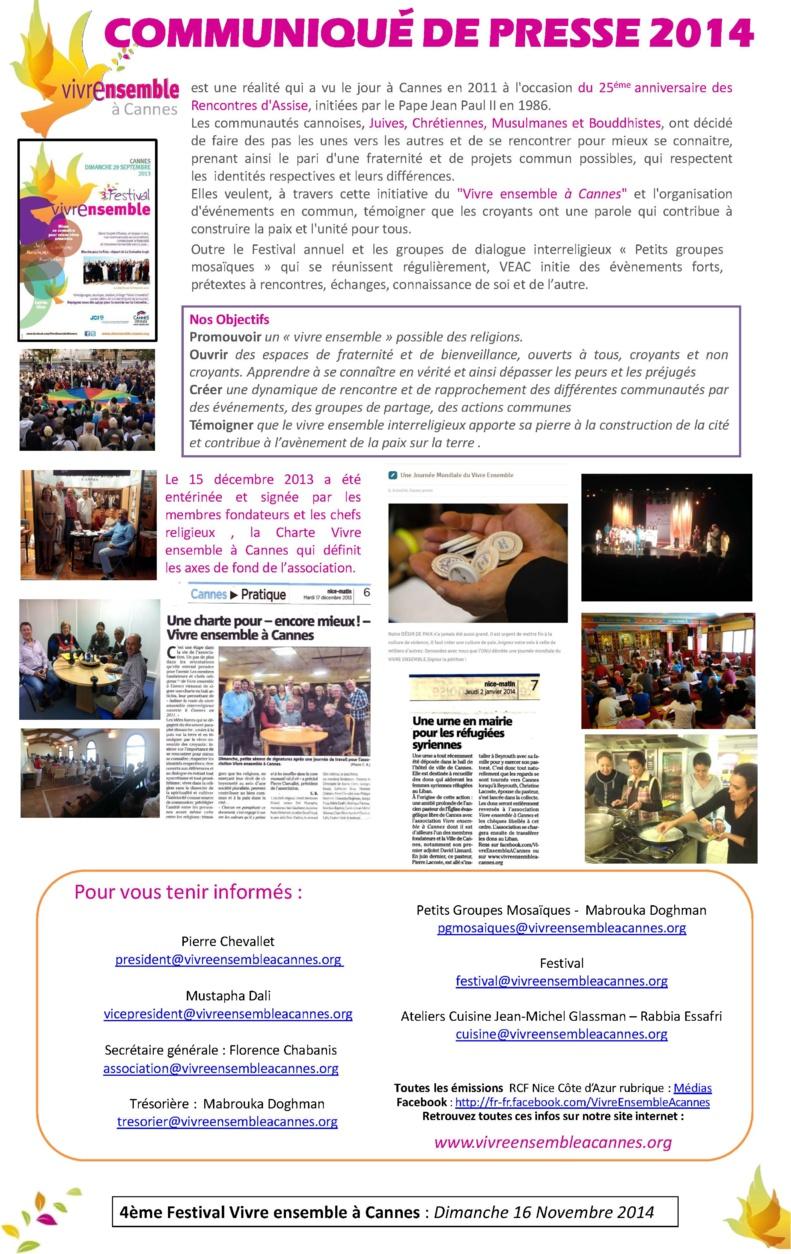 Dossier de Présentation VEAC - Nov 2011/Nov 2014 et Communiqué de Presse 2014