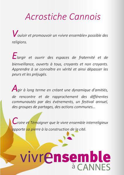 V.E.A.C. : Découvrez l'Acrostiche du Vivre Ensemble A Cannes