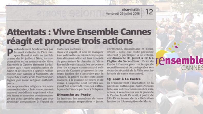 COMMUNIQUE des responsables religieux au sein de Vivre Ensemble A Cannes
