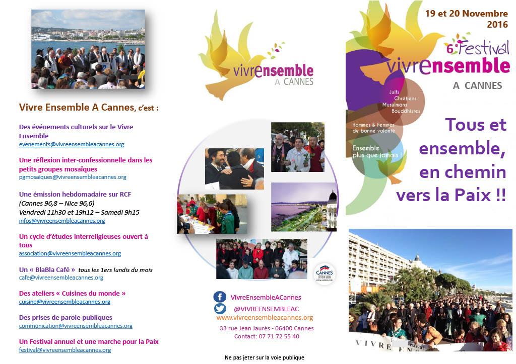 Le 6ème festival Vivre Ensemble A Cannes, c'est dans 3 jours et c'est pour vous !!!