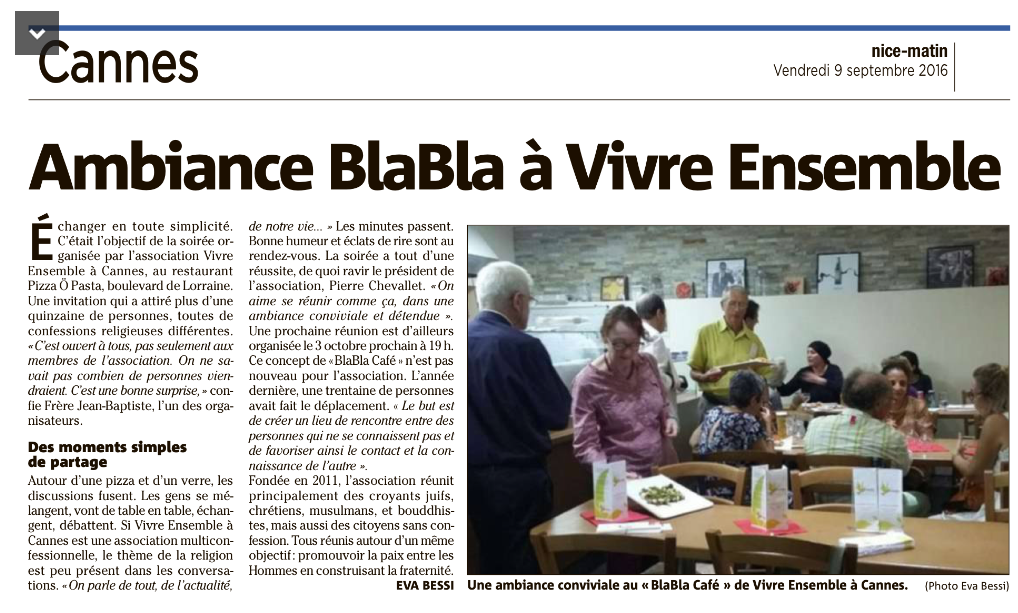 """BLABLA CAFE DU LUNDI 12 JUIN 2017 : TOUS ENSEMBLE au restaurant """"Le Dauphin"""" 1 Rue Bivouac Napoléon à Cannes (rue parallèle à la Croisette, niveau Palais des festivals) à partir de 19h00 !"""