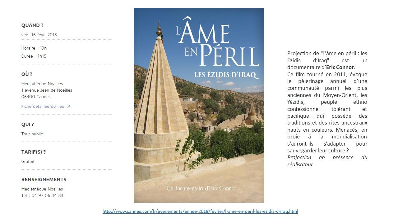 """INVITATION A LA PROJECTION DE """"L'AME EN PERIL DES EZIDIS D'IRAK"""" en présence du réalisateur le 16 Février à la Médiathèque Noailles..."""