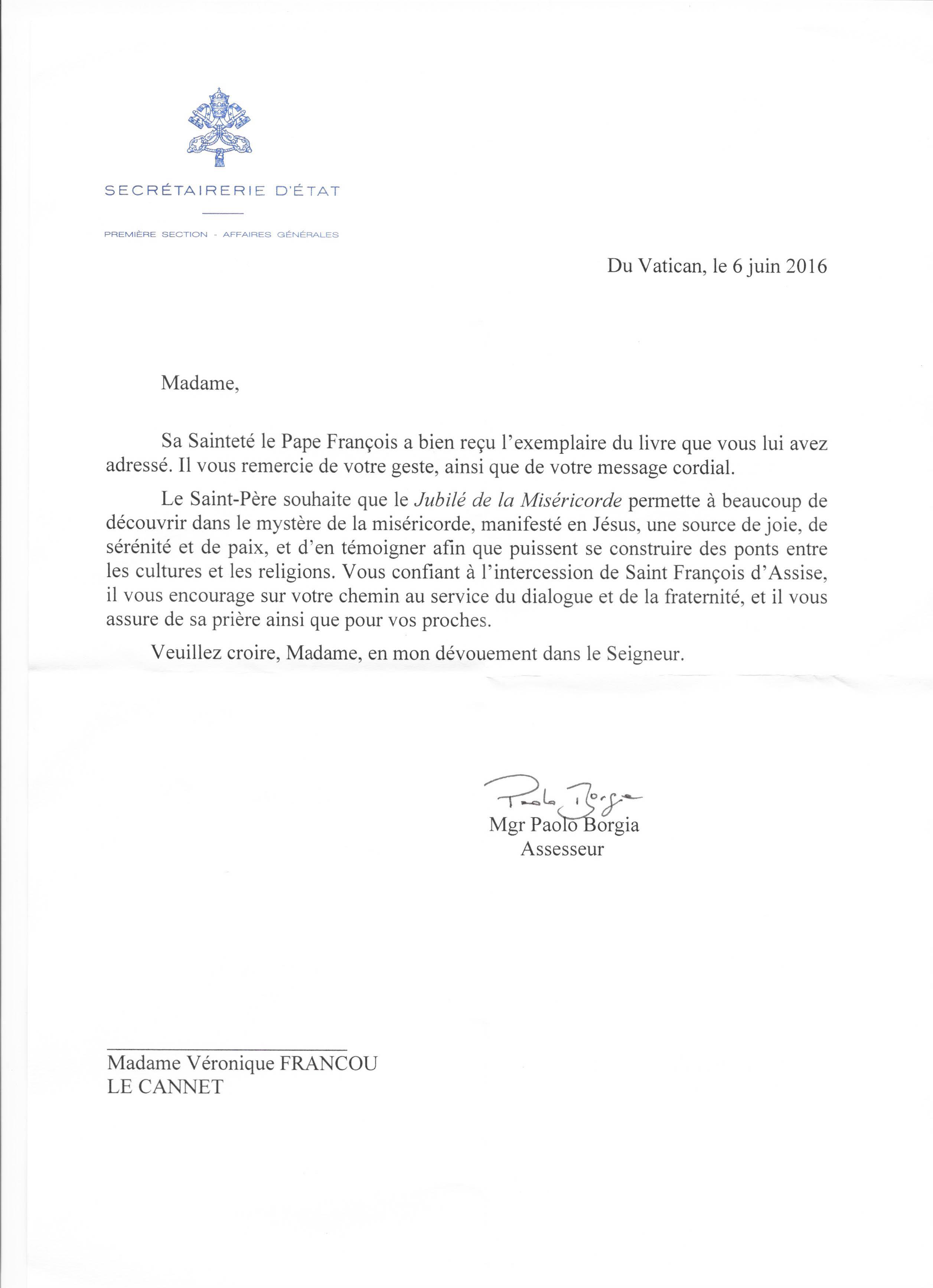 """Lorsque l'esprit du VEAC imprègne les actions de ses membres : Véronique Francou, son livre """"Visages de l'amour"""", la lettre du Pape François et l'émission """"Halte spirituelle"""" sur RCF."""